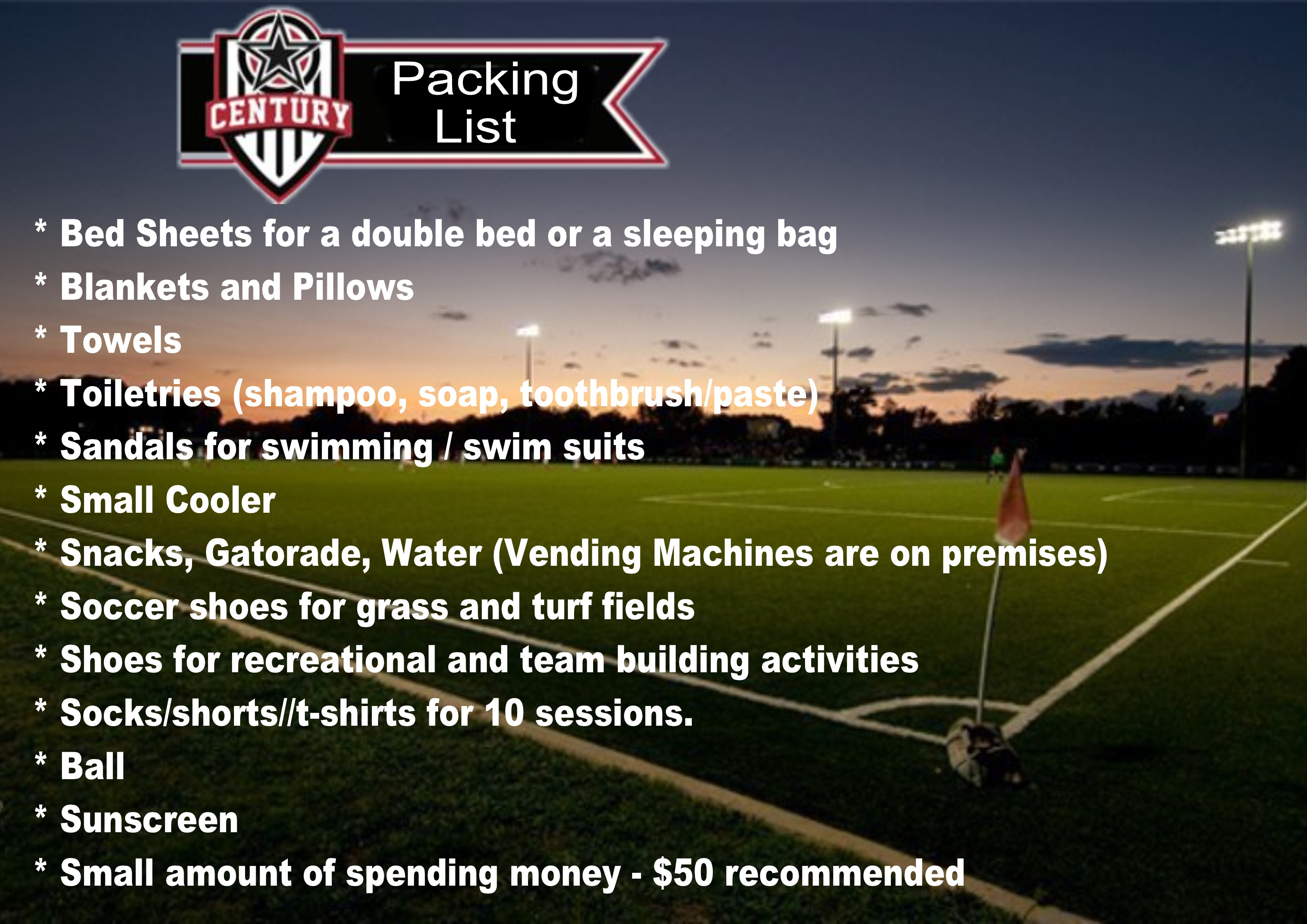 Suggested Packing List