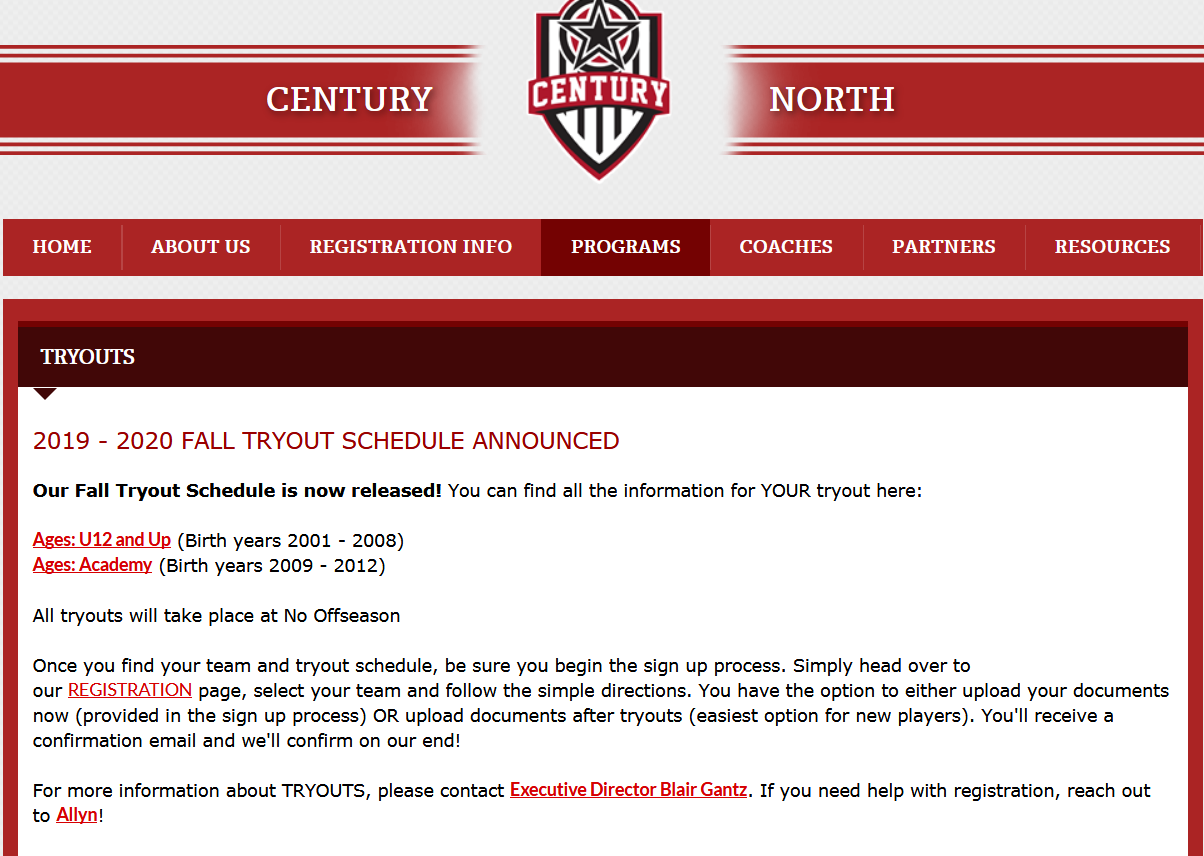 *** Century North Tryout Information ***  Please click here to visit page